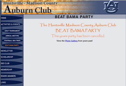Beat Bama Party Canceled