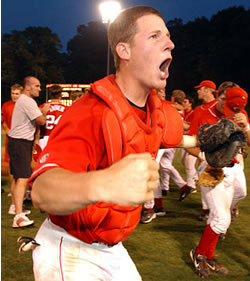 Clint Sammons celebrates winning the Athens regional in 2004